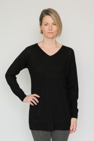 V Neck Tunic Sweater Eco Merino Wool