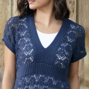 Organic-Cotton-Crochet-V-Neck-Blue