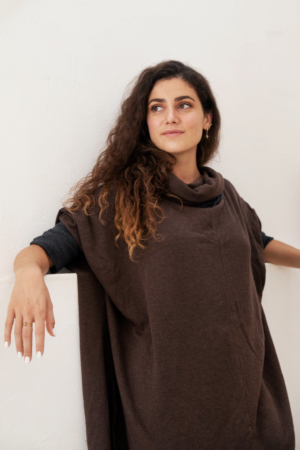 Modal two-tone reversible tunic length cowl in tobacco and dark brown