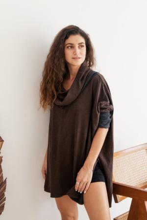 Tunic length, reversible, two-tone, organic cotton cowl.